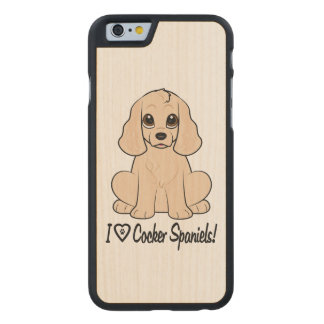 I Love Cocker Spaniels with Paw Print in Heart Carved® Maple iPhone 6 Slim Case