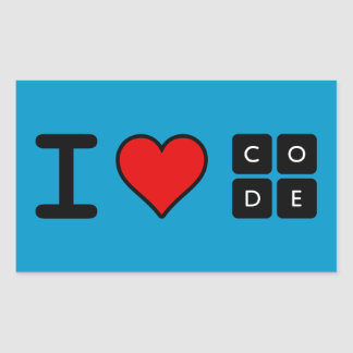 I Love Code Rectangular Sticker