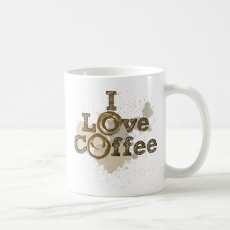 I Love Coffee Art Caffeine Basic White Mug