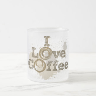 I Love Coffee Art Caffeine Frosted Glass Mug