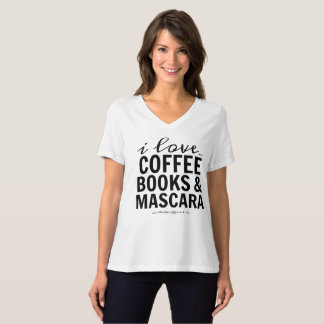 I Love Coffee Books & Mascara T-Shirt