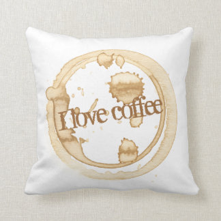 I Love Coffee Grunge Text with Coffee Stains Cushion