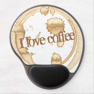 I Love Coffee Grunge Text with Coffee Stains Gel Mouse Mat