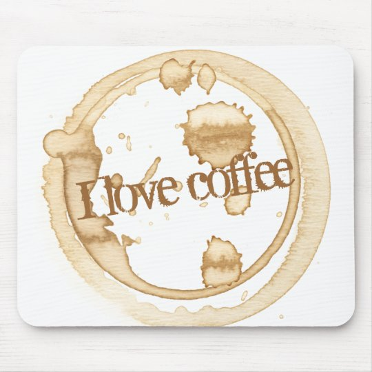 I Love Coffee Grunge Text with Coffee Stains Mouse Mat