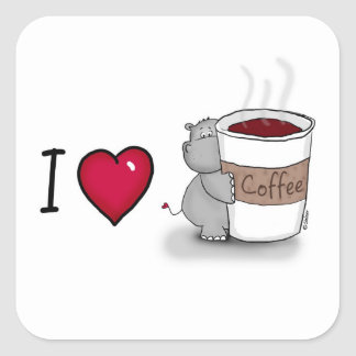 I love coffee - Hippo loves coffe Square Sticker