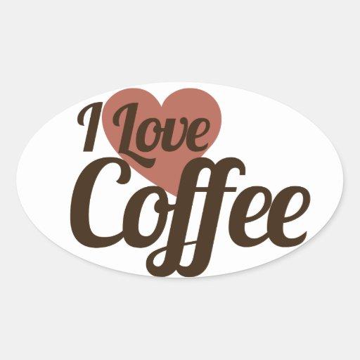 I Love Coffee Oval Stickers