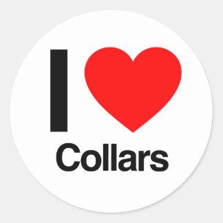 i love collars round sticker