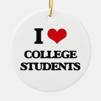 I love College Students Round Ceramic Decoration