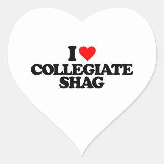 I LOVE COLLEGIATE SHAG HEART STICKER