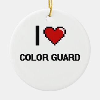 I Love Color Guard Digital Retro Design Christmas Ornament