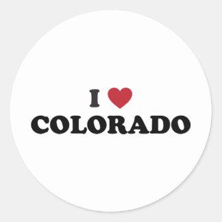 I Love Colorado Round Stickers