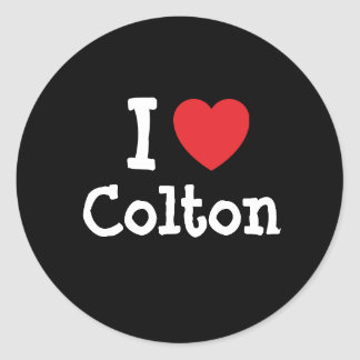 I love Colton heart custom personalized Round Sticker