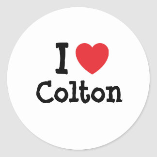 I love Colton heart custom personalized Round Stickers