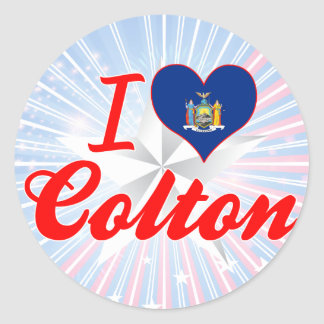 I Love Colton New York Round Sticker