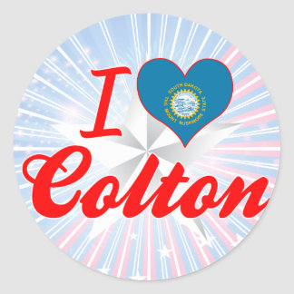 I Love Colton South Dakota Round Sticker