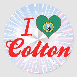 I Love Colton Washington Round Sticker
