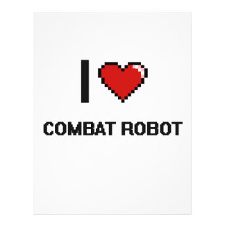 I Love Combat Robot Digital Retro Design 21.5 Cm X 28 Cm Flyer