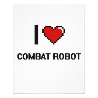 I Love Combat Robot Digital Retro Design 11.5 Cm X 14 Cm Flyer
