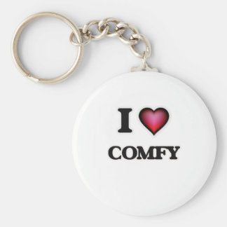 I love Comfy Basic Round Button Key Ring