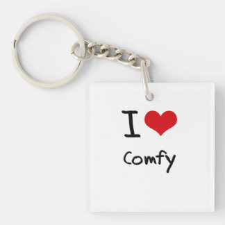 I love Comfy Single-Sided Square Acrylic Key Ring
