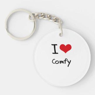 I love Comfy Single-Sided Round Acrylic Key Ring