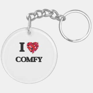 I love Comfy Double-Sided Round Acrylic Key Ring