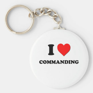 I love Commanding Basic Round Button Key Ring