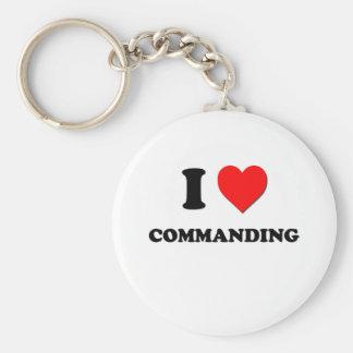 I love Commanding Basic Round Button Key Ring