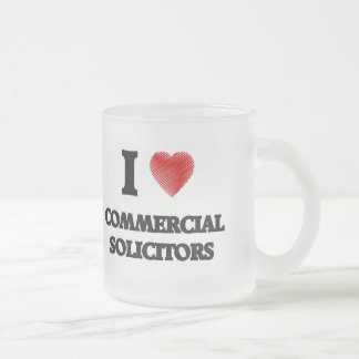 I love Commercial Solicitors (Heart made from word Frosted Glass Mug