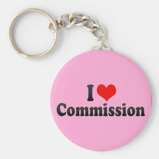 I Love Commission Basic Round Button Key Ring