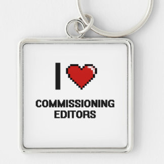 I love Commissioning Editors Silver-Colored Square Key Ring
