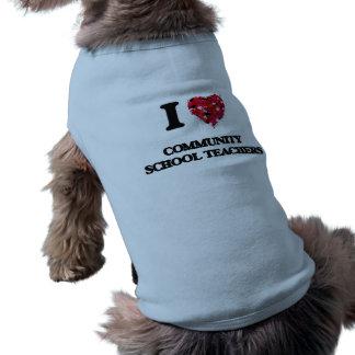 I love Community School Teachers Sleeveless Dog Shirt