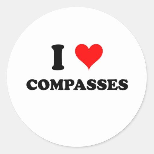 I Love Compasses Round Sticker