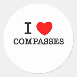 I Love Compasses Round Stickers