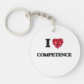 I love Competence Single-Sided Round Acrylic Key Ring