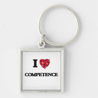 I love Competence Silver-Colored Square Key Ring
