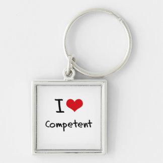 I love Competent Key Chain