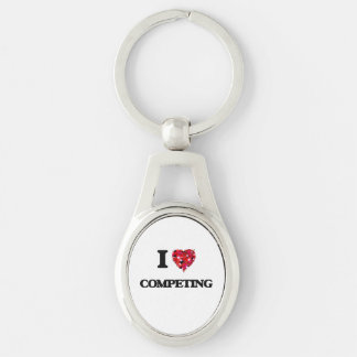 I love Competing Silver-Colored Oval Key Ring