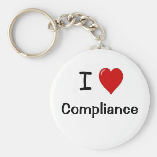 I Love Compliance I Heart Compliance Basic Round Button Key Ring