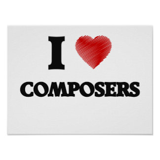 I love Composers (Heart made from words) Poster