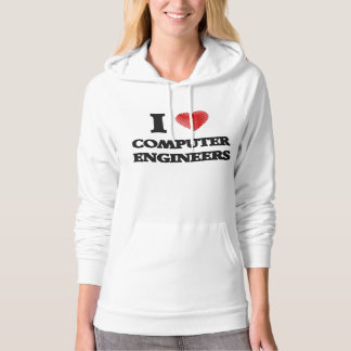 I love Computer Engineers (Heart made from words) Hooded Pullover