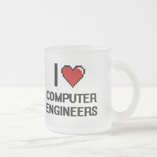 I love Computer Engineers Frosted Glass Mug