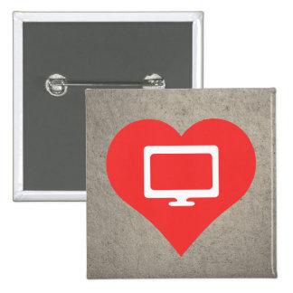 I Love Computer Monitors 15 Cm Square Badge