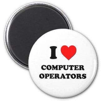 I love Computer Operators 6 Cm Round Magnet