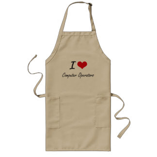 I love Computer Operators Artistic Design Long Apron