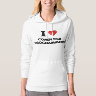 I love Computer Programmers (Heart made from words Hooded Sweatshirts