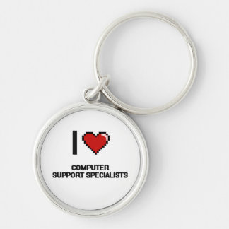 I love Computer Support Specialists Silver-Colored Round Key Ring