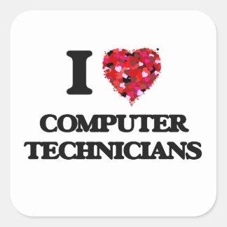 I love Computer Technicians Square Sticker