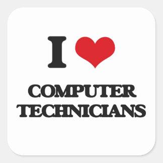 I love Computer Technicians Square Stickers
