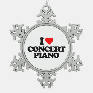I LOVE CONCERT PIANO PEWTER SNOWFLAKE DECORATION
